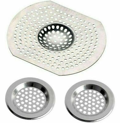 £2.49 • Buy 3 X Stainless Steel Sink Bath Plug Hole Strainer Basin Hair Trap Drainer Cover
