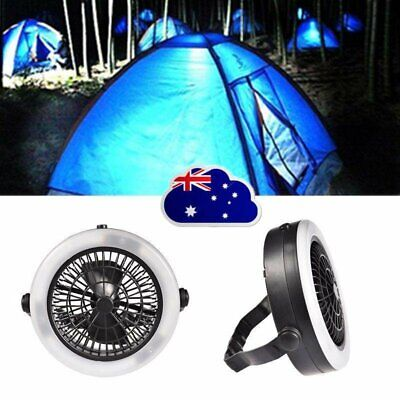 AU24.68 • Buy Outdoor Camping Portable USB Rechargeable LED Fan Light Hanging Tent Lamp HG