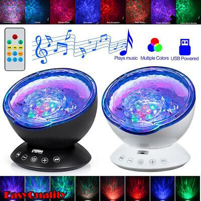 Relaxing Ocean Wave Music LED Night Light Projector Baby Kids Lamp Gift+Remote • 16.79£
