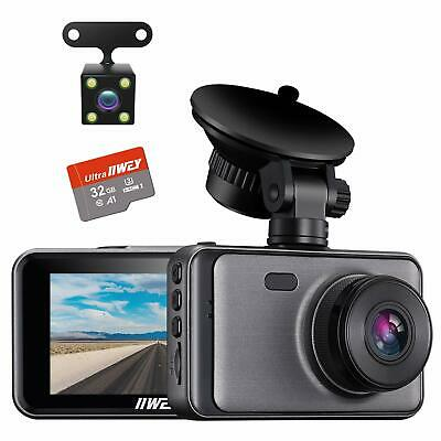 AU86.05 • Buy Iiwey Dash Cam For Cars Front And Rear 【SD Card Included】Dual Cameras FHD 1080P