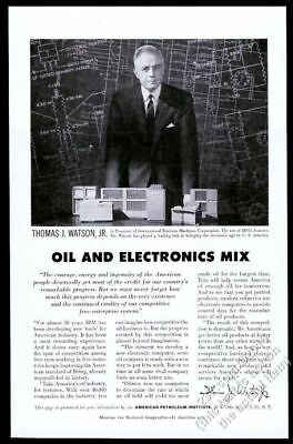 1956 IBM Computer Thomas J Watson Jr Photo American Petroleum Vintage Print Ad • 21.44£