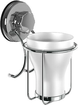 HASKO Accessories - Suction Cup Toothbrush Holder - Stainless Steel Toothpaste • 11.44£