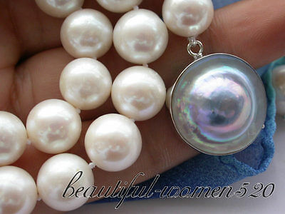 $50 • Buy Z3233 17  12mm WHITE ROUND Fw PEARL NECKLACE MABE Clasp Match Earring