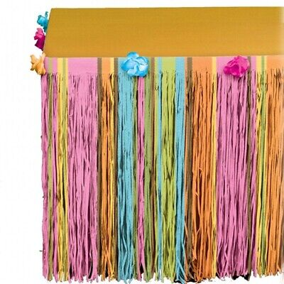 3m HAWAIIAN HIBISCUS LUAU PAPER TABLE SKIRT FLOWER GARDEN PARTY NEW • 4.99£
