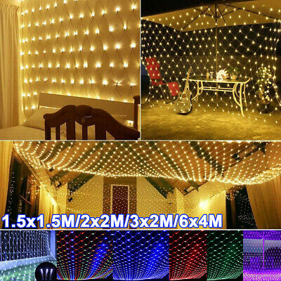 LED Mesh Net String Lights Christmas Tree Fairy Curtain Light Indoor Outdoor UK • 10.89£