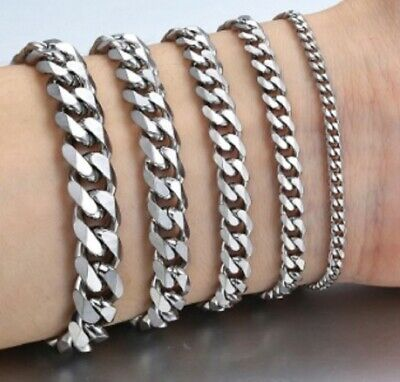 Mens 18-25cm Stainless Steel Silver Curb Link Chain Bracelet Thick 10/8/6/4/3mm  • 8.49£