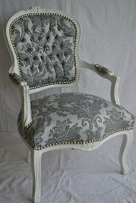 £119 • Buy Louis Xv Arm Chair French Style Chair Vintage Furniture Grey White New Model
