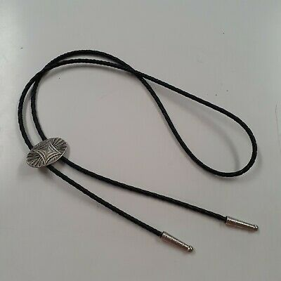 Vintage Bolo String Tie Silver Colored Slide & Tip Twisted Leather Cord • 18.09£