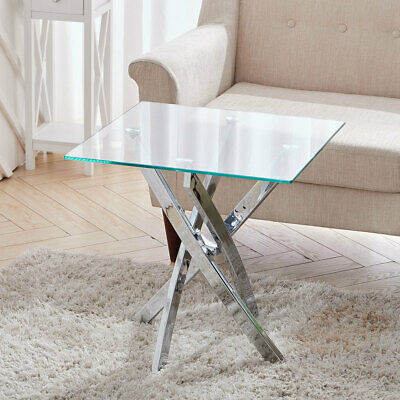 55cm Square Laptop Desk Tempered Glass Coffee Sofa Side End Table Chrome Legs UK • 82.95£