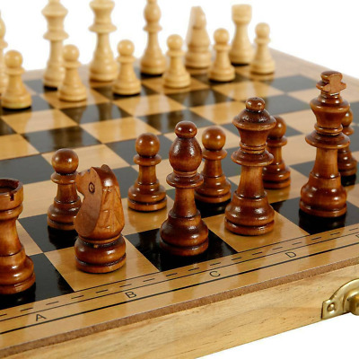 £12.95 • Buy Large Chess Wooden Set Folding Chessboard Backgammon Draughts Wood Board Game UK