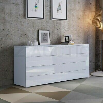 AU259.95 • Buy High Gloss 8 Chest Of Drawers Tallboy Dresser Table Storage Bedroom Cabinet WH