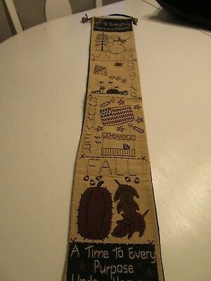 Tapestry Bell Pull Four Seasons A Time To Every Purpose Wood Hanger 34  Long  • 7.15£