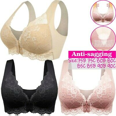 Women's Adjustable Sports Front Closure Extra-Elastic Breathable Lace Trim Bra • 10.99£