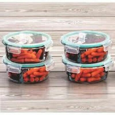£13.99 • Buy 4 X Glass Food Storage Container Ovenproof Dish With Lid Air Liquid Tight, 420ML