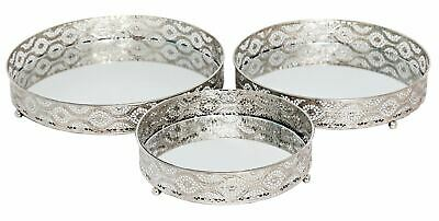 £18.60 • Buy Set 3 Silver Metal Mirror Candle Plate Decorative Tray Centerpiece Perfume Tray