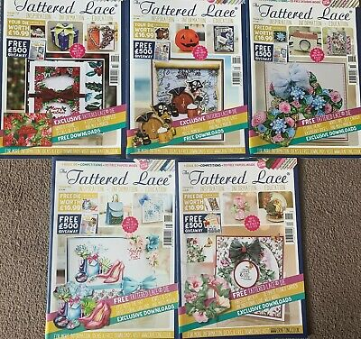 5 Tattered Lace Magazines, Issues 62, 66, 69, 71 & 72 No Dies • 5£