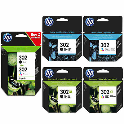 Original HP 302 / 302XL Black & Colour Ink Cartridges DeskJet 1110 Printers Lot • 19.92£