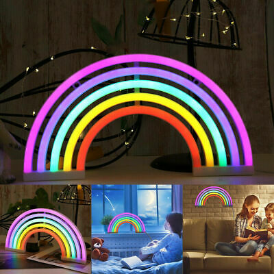 Rainbow Neon LED Night Lights Wall Decor For Girl Children Baby Room Kids Gifts • 6.98£