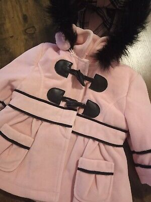 £22 • Buy Couche Tot - Black&pink Velvet Touch Fur Toggle Coat - Age 0-6 Months - Bnwot
