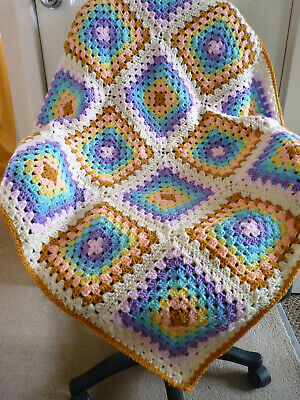 Crochet Granny Square Baby Blanket Rainbow Pram Car Baby Shower Gift 34 X 34 Ins • 15.95£