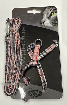 £3.99 • Buy Cat Harness And Lead Set Pink Tartan Good Girl Can Also Be Used For Rabbit Etc