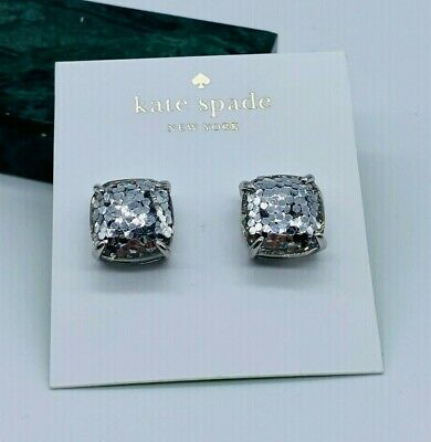 $ CDN25.05 • Buy Kate Spade Square Stud Silver Glitter Earrings