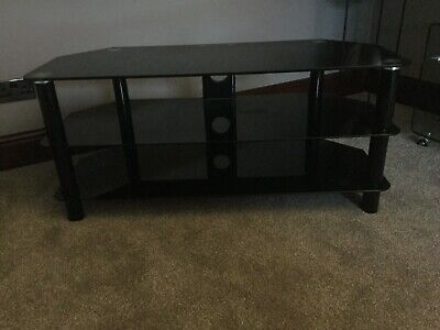 TV Stand Black Tempered Glass Metal Table S800BG11X Logik Collection Only • 15£