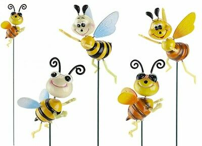 Set Of 4 Happy Bees On A Stick Garden Ornament Decoration Novelty Bright • 9.99£