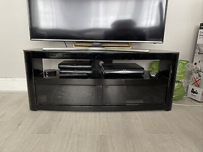 Black Glass Tv Cabinet. In Very Good Condition/hardly Used. Glass Doors And Back • 40£