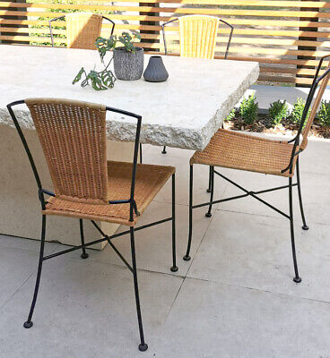 AU240 • Buy 5x Wicker And Steel Dining Chair