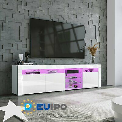 180cm TV Unit Stand Cabinet Sideboard RGB LED High Gloss 3 Doors Glass Shelves • 159.99£