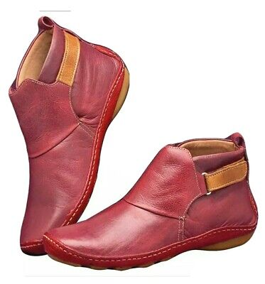 Women Winter Arch Support Ankle (RED) Flat Heel Comfy Casual Shoes Eu Size 39  • 15.99£