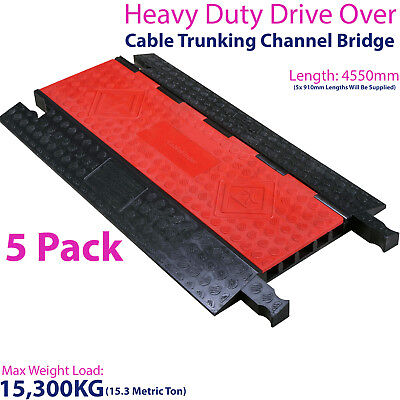 £1099.99 • Buy 5x 15,300KG 5 Channel Drive Over Cable Protector-Outdoor Trunking Bridge Ducting
