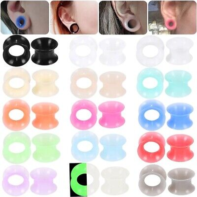AU5.95 • Buy 1 PAIR Silicone Ear Plug Expander Tunnels Stretcher Gauges Flexible Ultra Thin