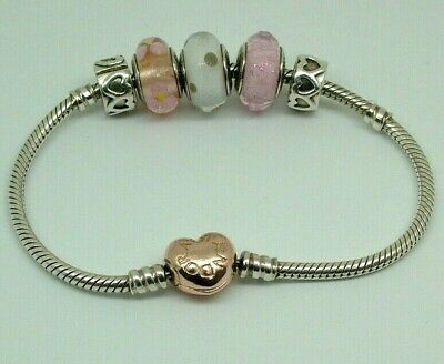 AU61 • Buy Authentic Pandora 18cm Bracelet With Gold Heart Clasp With 5 Charms ALE R S925