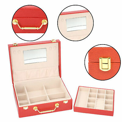 £17.89 • Buy Two Layer Lizard Skin Pattern Anti-Tarnish Jewellery Box With Removable Tray Red