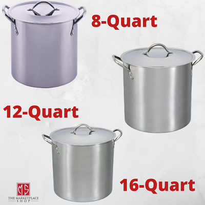 $ CDN26.18 • Buy STAINLESS STEEL 8/12/16 Qt STOCKPOT With Lid Cooking Kitchen Soup Sauce Stew