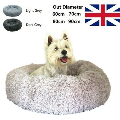 Extra Large Donut Dog Bed XL Round Cozy Anti-Anxiety Fluffy Nesting Beds 60~90cm • 28.99£