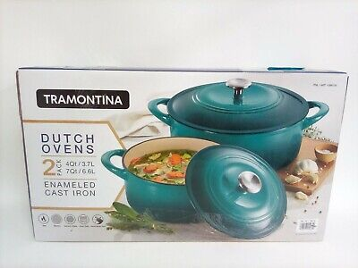 $ CDN101.48 • Buy Tramontina Enameled Cast Iron Dutch Oven 4 Qt & 7 Qt Set, 2 Pack *NEW W/ Defects