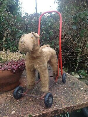 Antique, Vintage, Terrier / Airedale Dog On Wheels, Push Along  / Tri Ang Toy • 95£