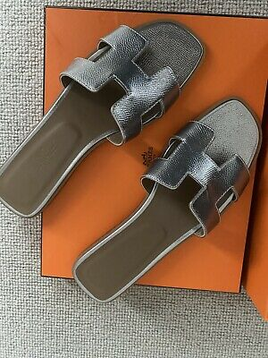 Hermes Icon Authentic Oran Sandal Silver Size 39,5 Uk 6,5 • 460£
