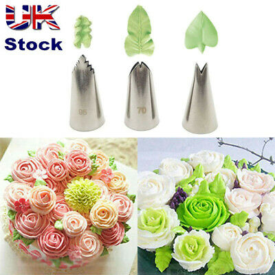 3Pcs/Set Cake Cream Leaf Nozzles Tips Icing Piping Pastry Tip Baking Decor Tool • 3.89£