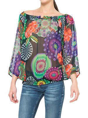 £10.39 • Buy DESIGUAL Betsy Off-Shoulder Floral Smocked Top Sizes S,M,L,XL & XXL *Brand New*