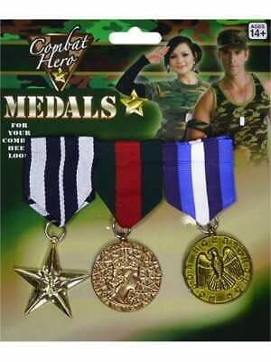 3 Military Medals Army Soldier War Hero Veteran Fancy Dress Costume Plastic Toy