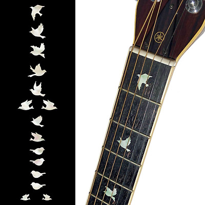£13 • Buy Dove White Silver Guitar Fret Board Markers Inlay Stickers