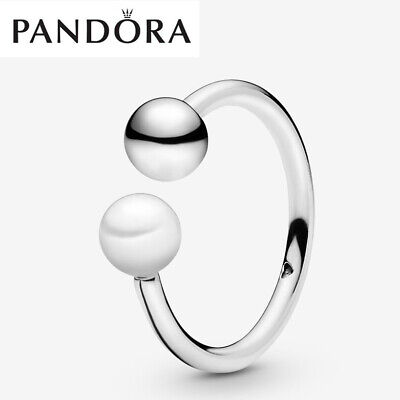 ALE S925 Genuine Silver Pandora Bead & Freshwater Cultured Pearl Open Ring & Box • 16.99£