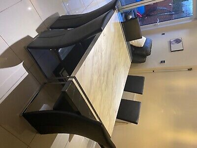 Marble Dining Table Set And 6 BlackChairs Faux Leather Modern Chrome Legs • 750£