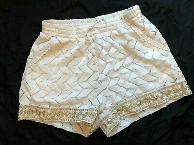 Lucy Sparks Ladies White Lined Shorts Gold Bling Trim And Pockets S/M Hotpants • 2.99£