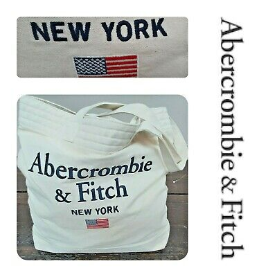 🆕️ABERCROMBIE & Fitch Tote BAG Cotton Canvas NEW YORK Embroidery American Flag • 17£