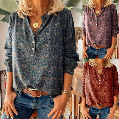 AU21.50 • Buy Womens Long Sleeve Ladies Button Paint Shirt Tops Blouse Pullover Boho Puls Size